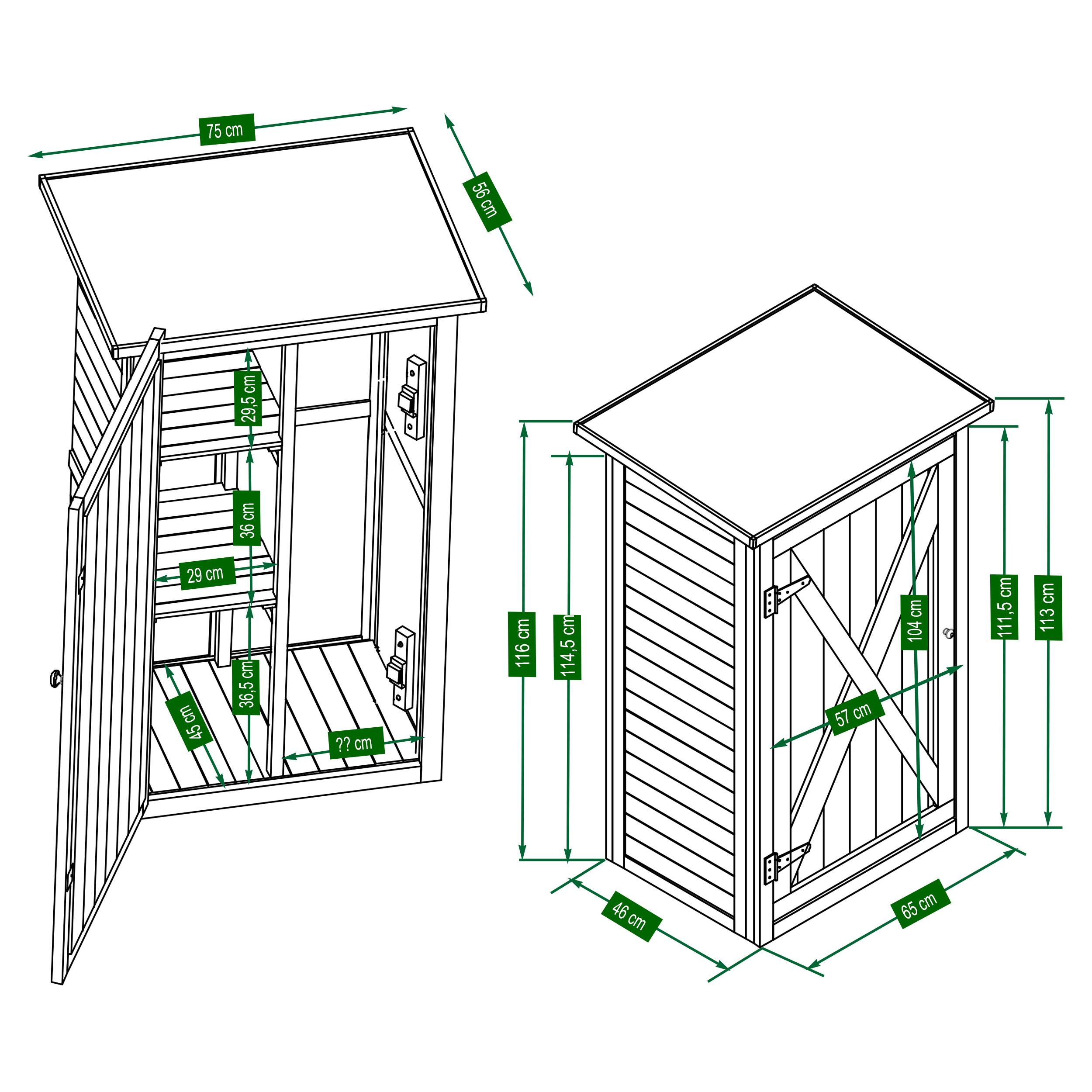 HABAU Gartenschrank Benno - Skizze mit Maßen - 3086