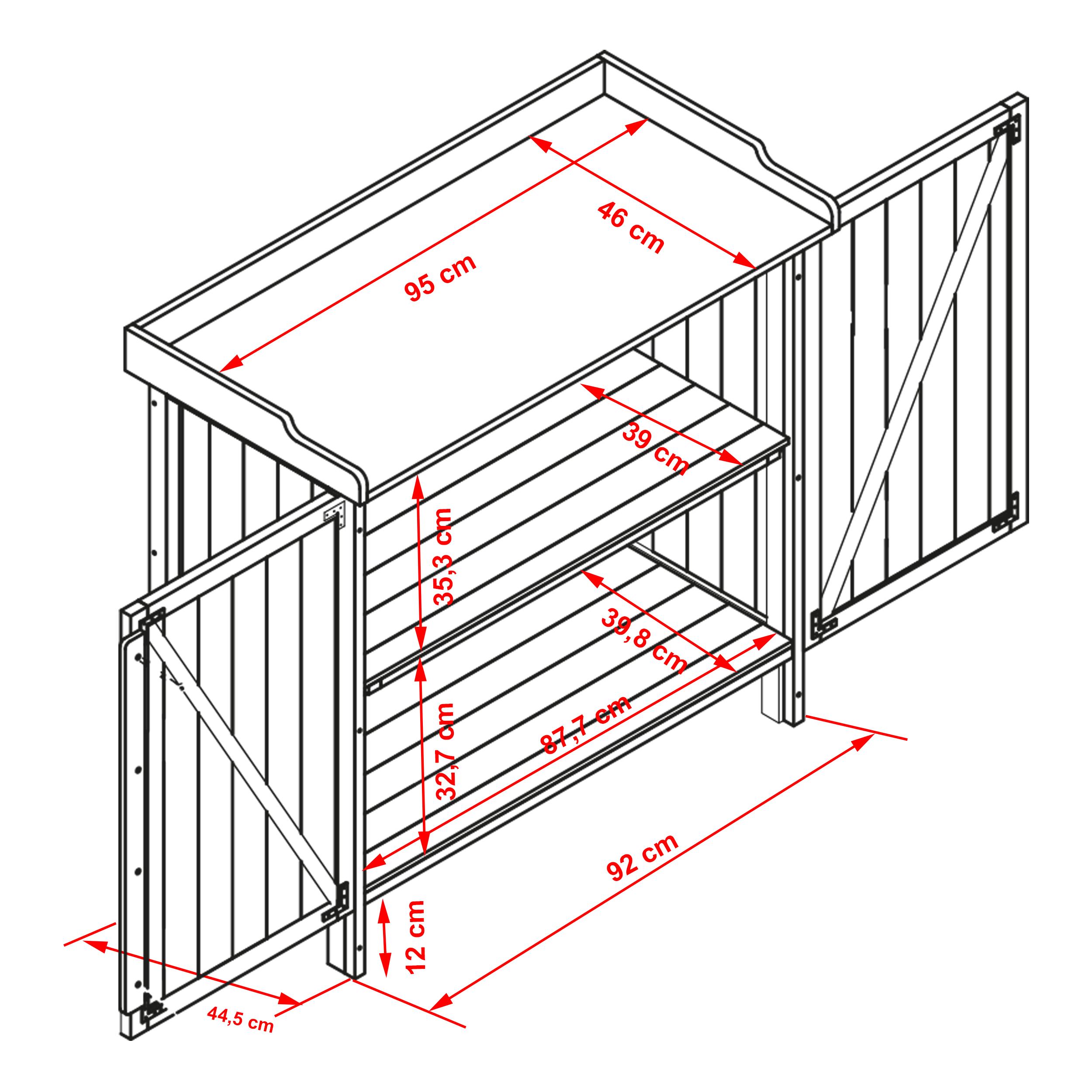 HABAU Gartentisch Lino mit Unterschrank - Skizze mit Maßen - 3095