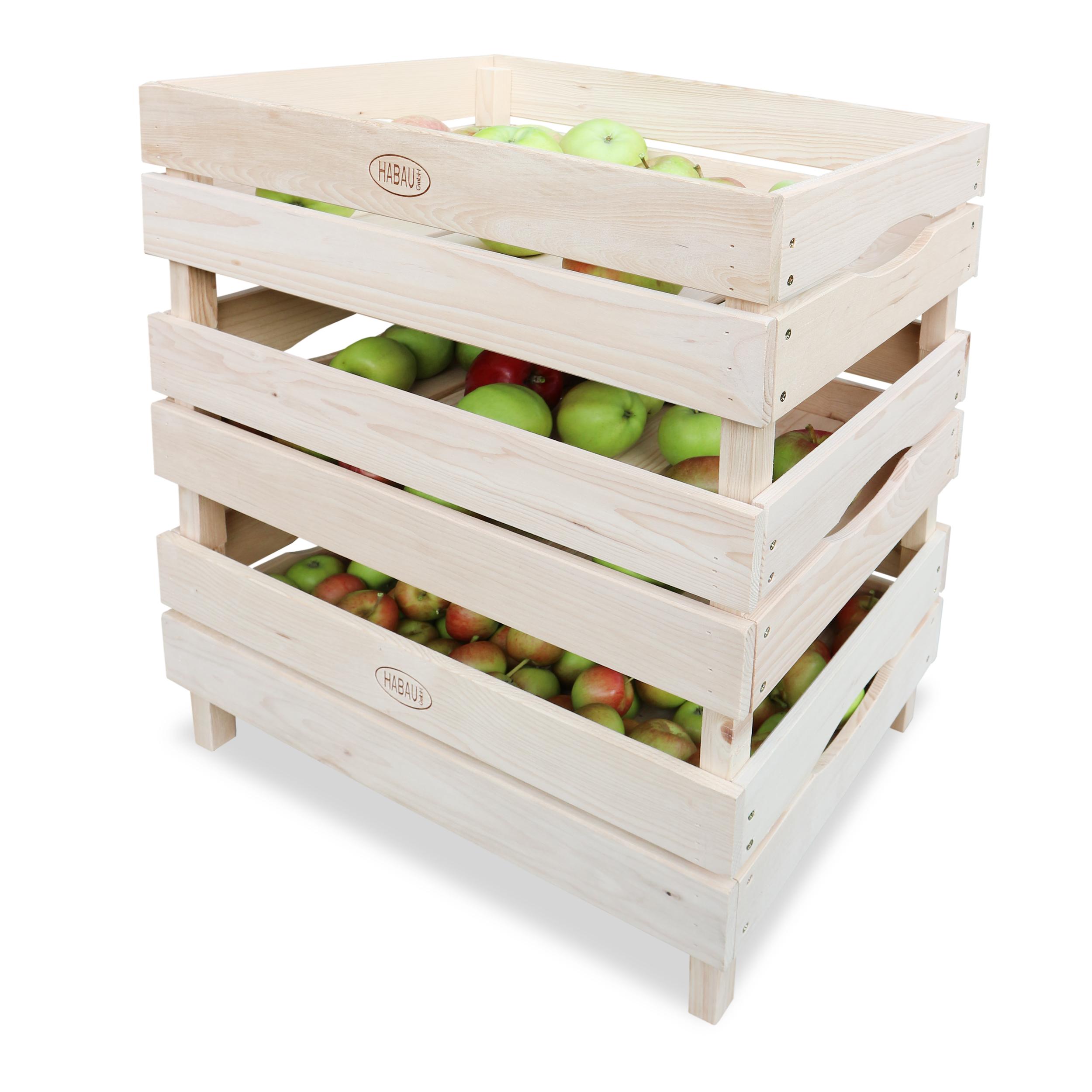 HABAU Holzkiste für Obst und Gemüse im 3er Set, Anwendungsbeispiel mit Äpfeln