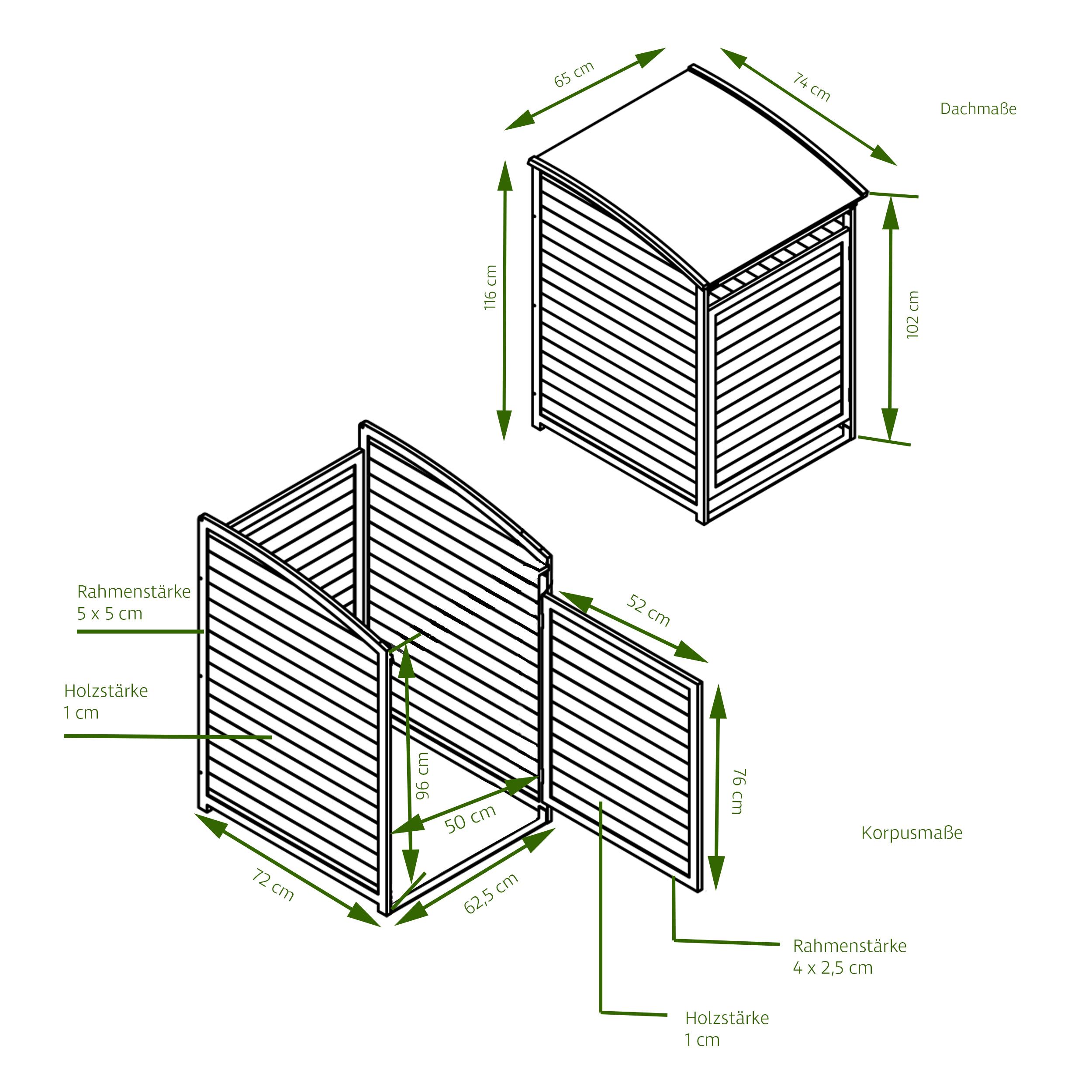 HABAU Mülltonnenbox PLUS 120 Liter, natur - Skizze mit Maßen - 3152
