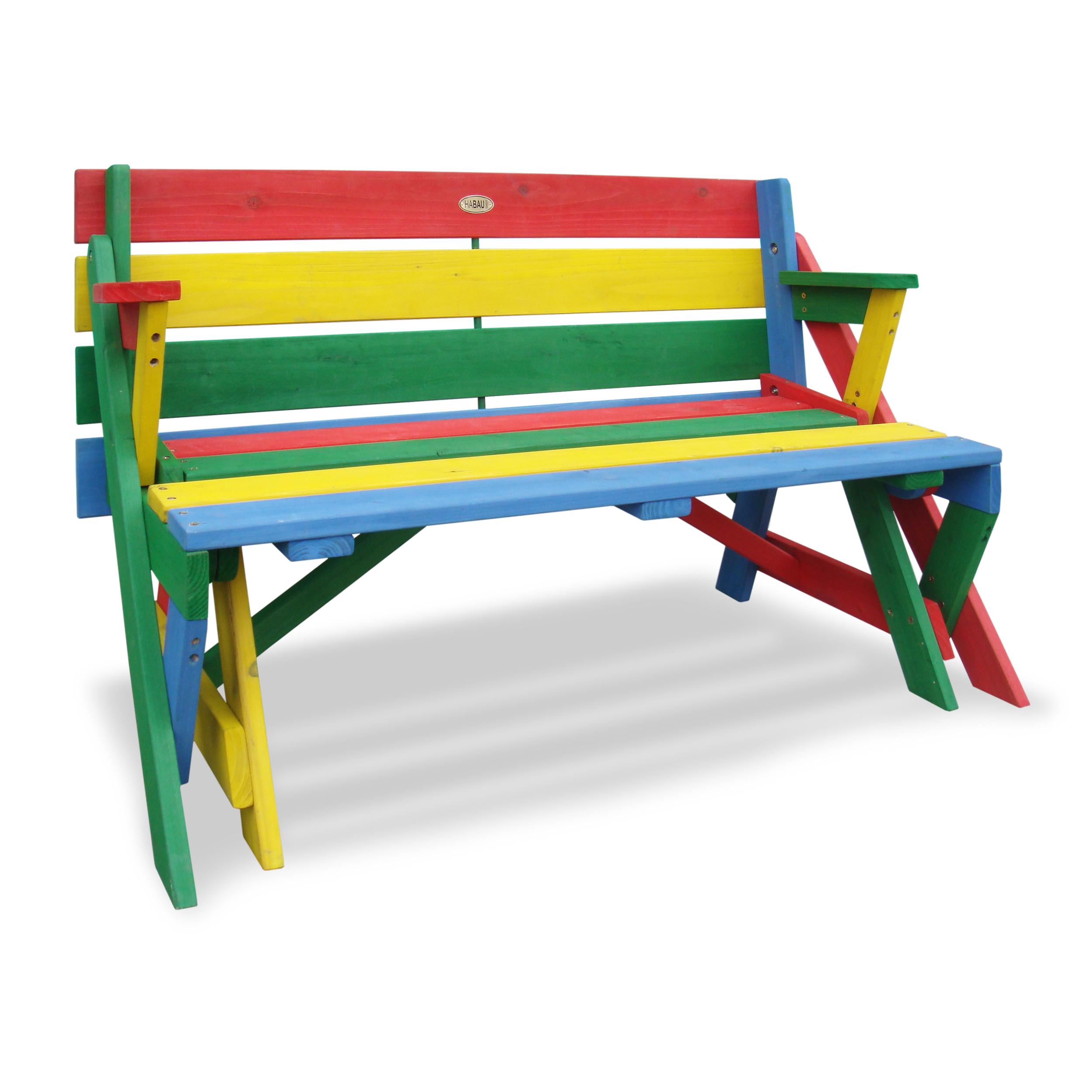 HABAU Kinderpicknickbank in rot, grün, gelb und blau, als Sitzbank