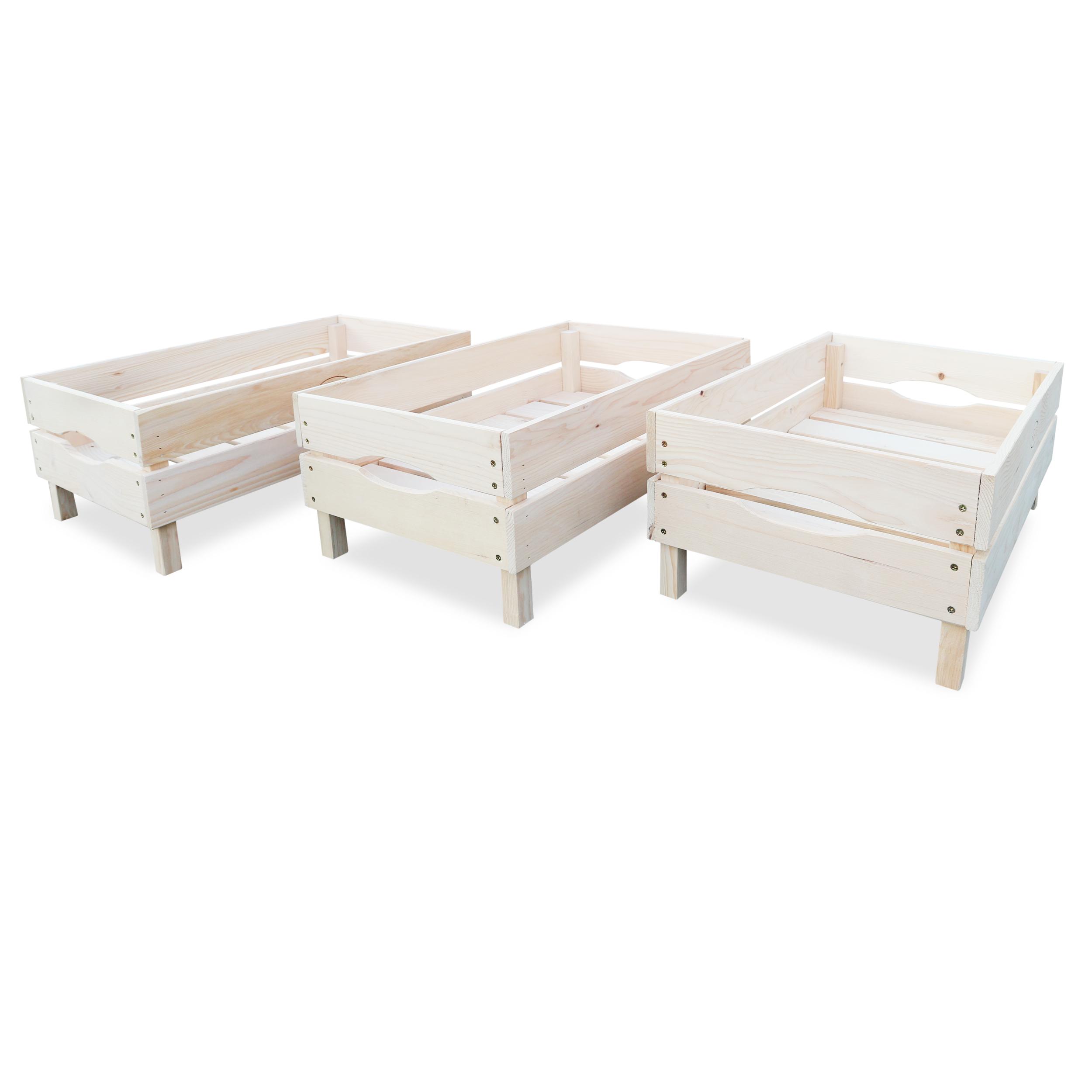HABAU Holzkiste für Obst und Gemüse im 3er Set, nebeneinander