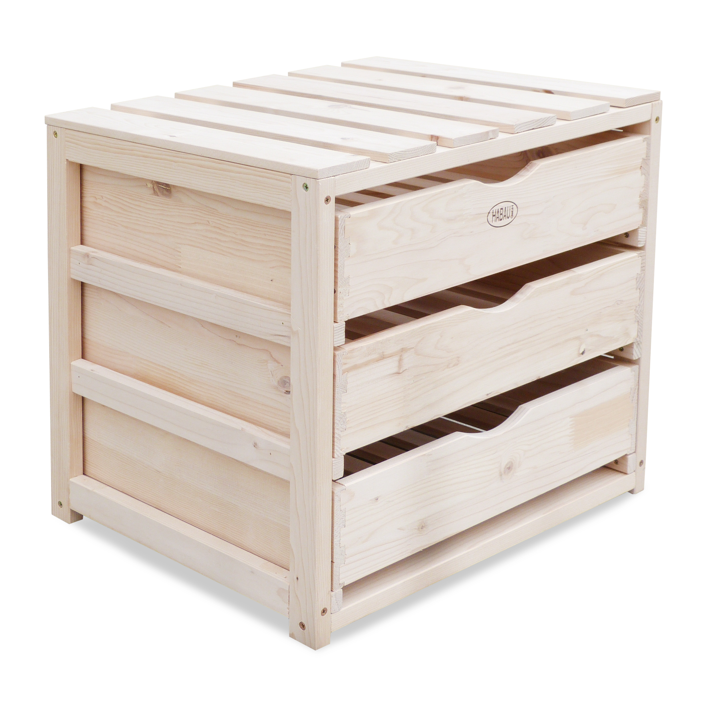 HABAU Holzkiste mit Schubladen aus Naturholz, voll verzapft, 50 x 40 x 45 cm