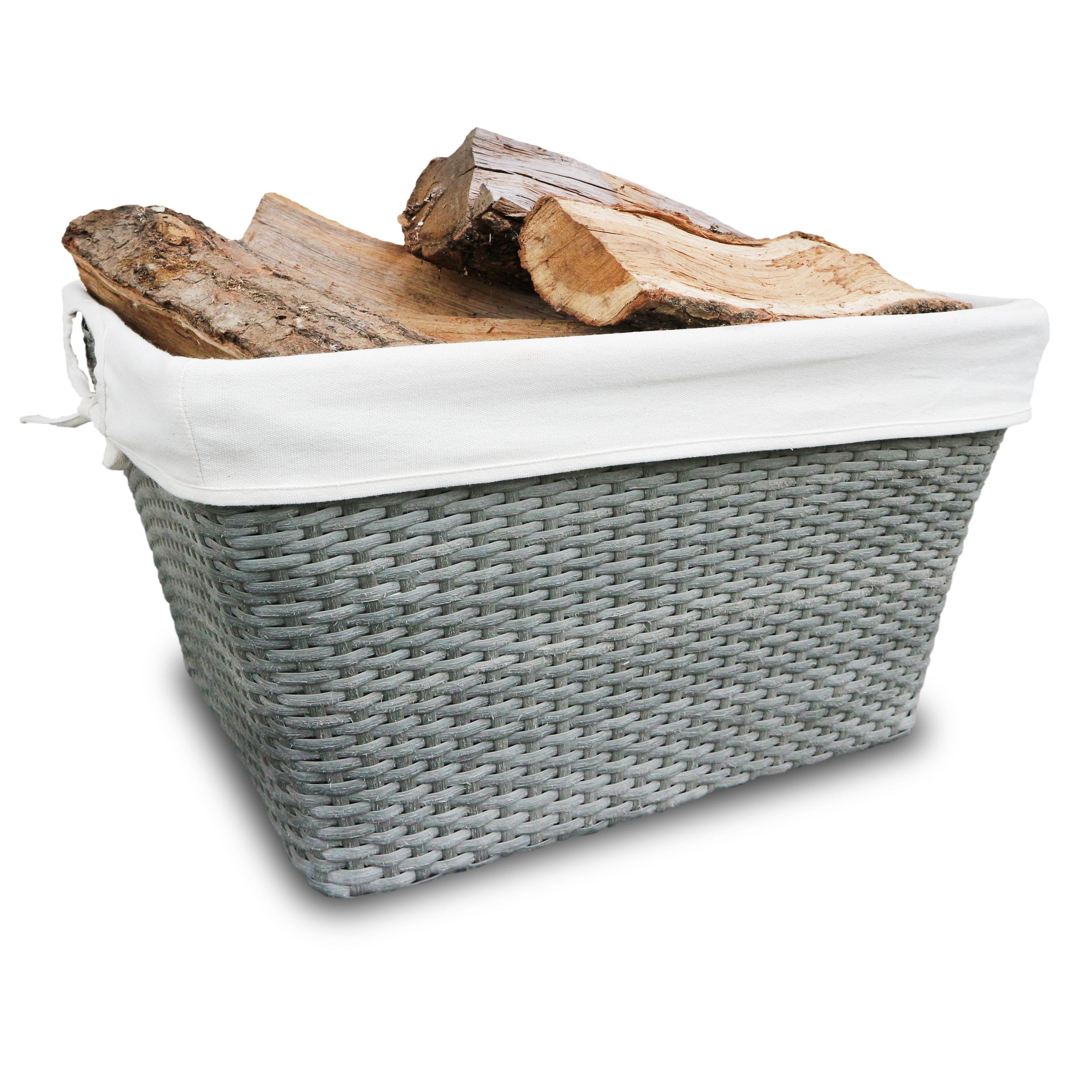 HABAU Holzkorb aus Polyethylen mit Holzscheiten