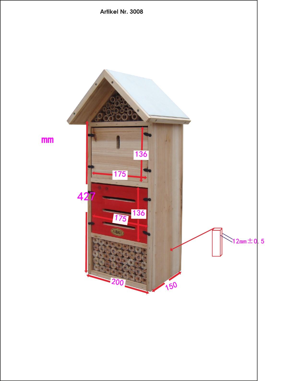 HABAU Insektenhotel Kompakt - Skizze mit Maßen - 3008