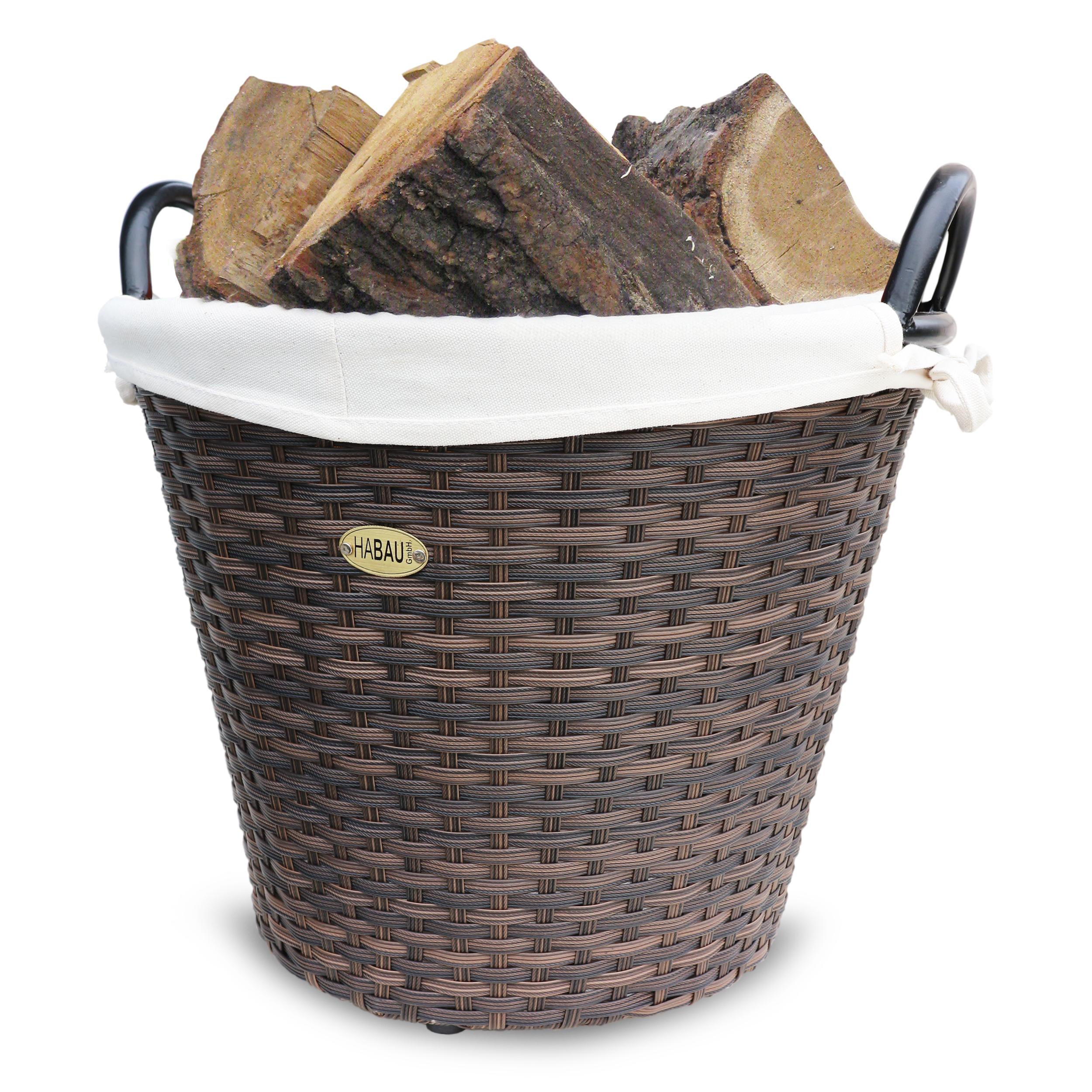 HABAU Feuerholzkorb aus Polyethylen, braun, 48 cm - 2712