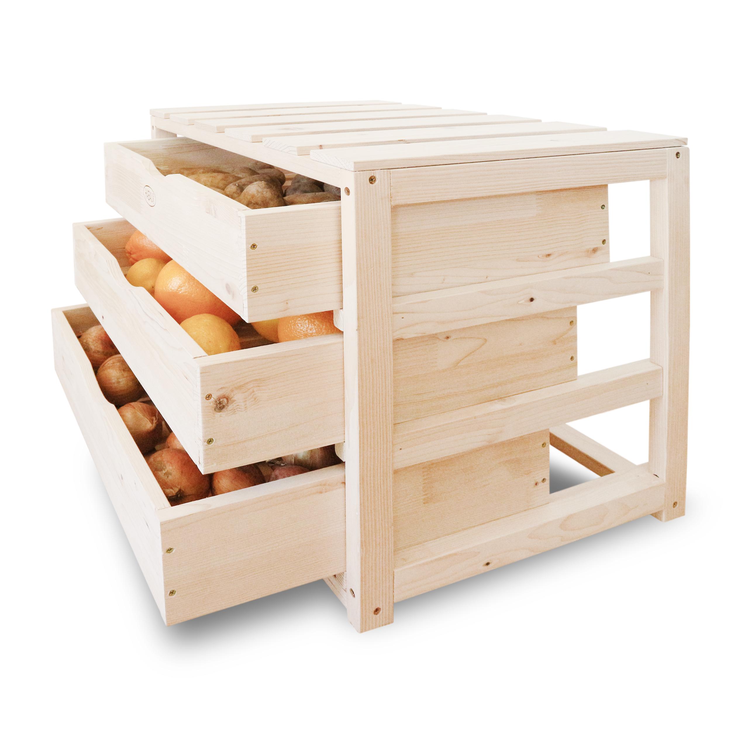 HABAU Holzkiste mit Schubladen, Anwendungsbeispiel mit gelagertem Gemüse