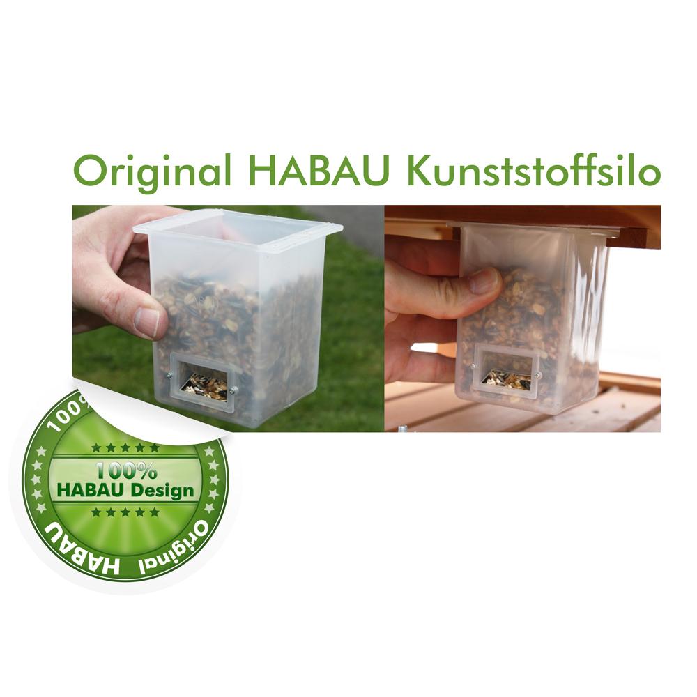 Das original Futtersilo aus Kunststoff für viele verschiedene HABAU Vogelhäuser.