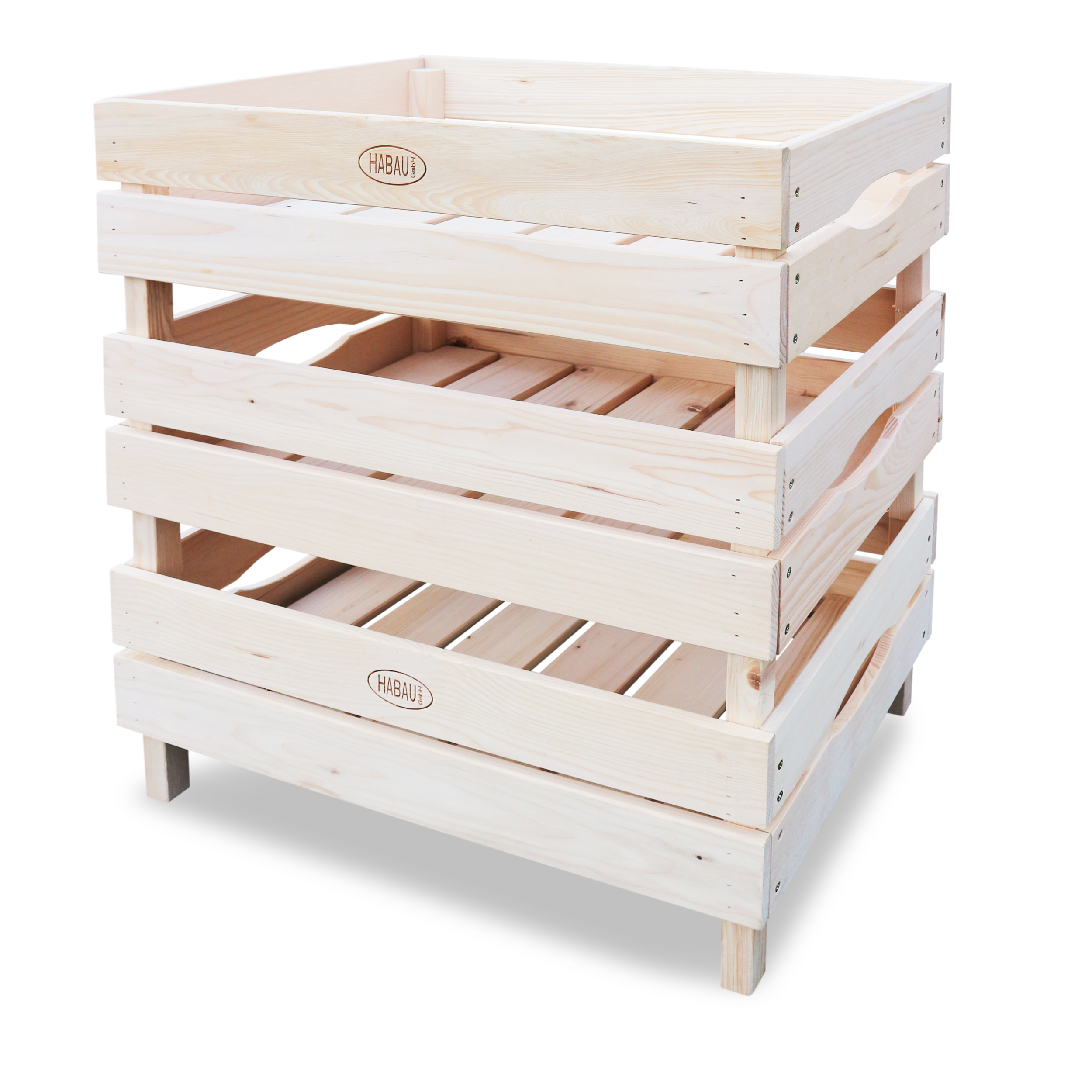 HABAU Holzkiste für Obst und Gemüse im 3er Set, gestapelt
