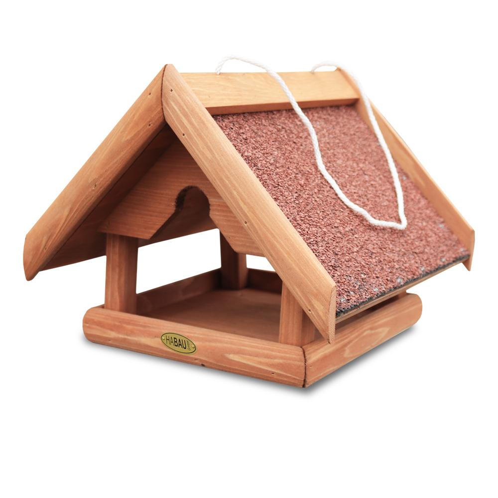 """Vogelhaus """"Bergfink"""" zur Wildvogelfütterung. Mit Kordel zum Aufhängen und geöffnet zu allen vier Seiten."""