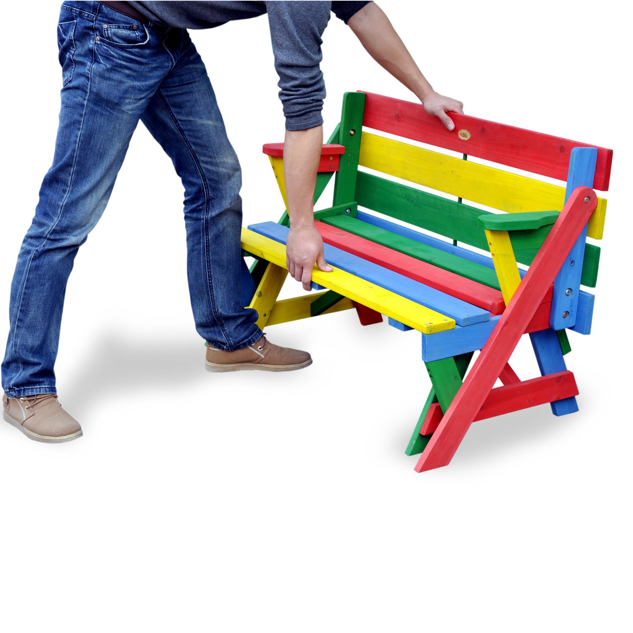 HABAU Kinderpicknickbank in rot, grün, gelb und blau - Anwendungsbeispiel zum Umklappen