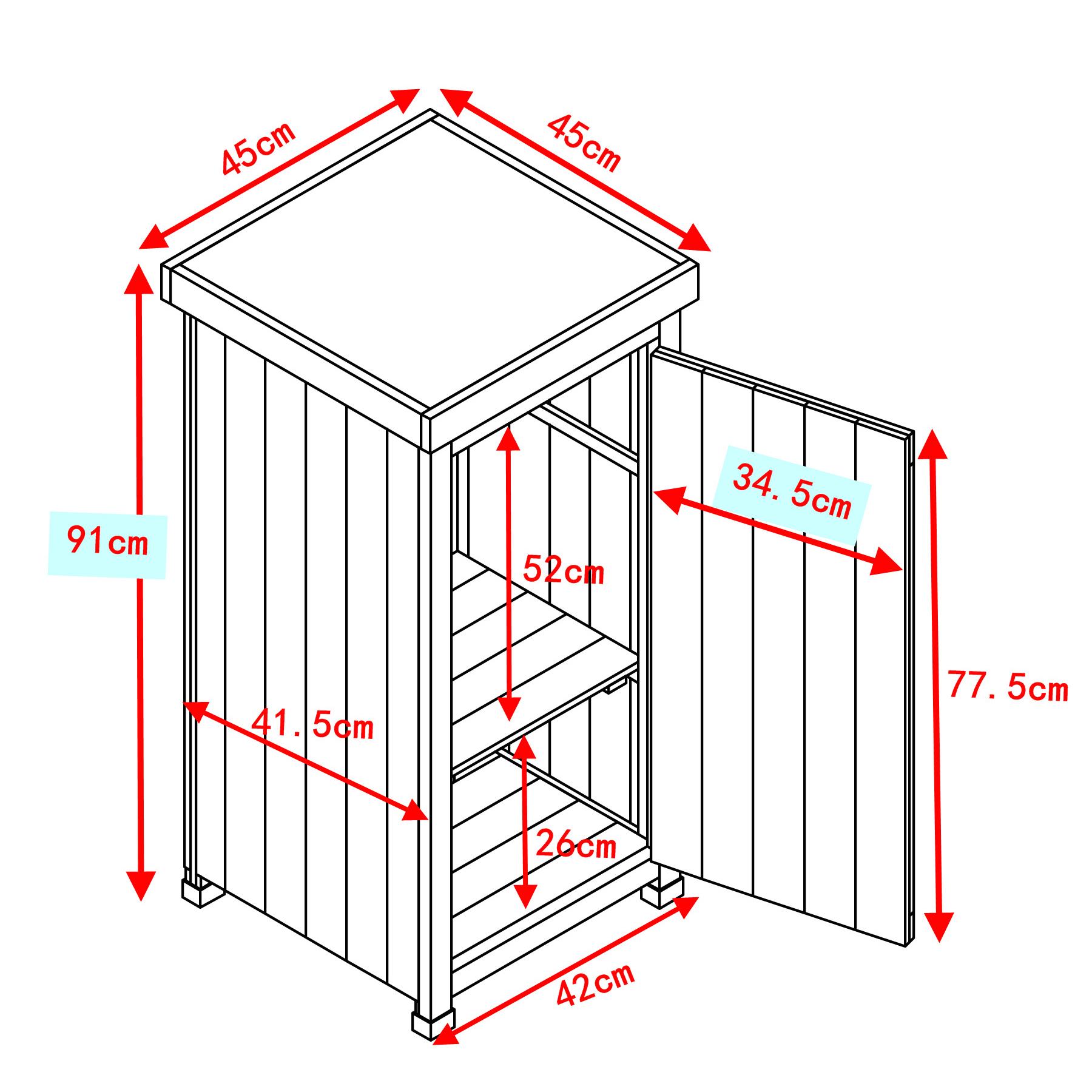 HABAU Gartenschrank Kompakt - Skizze mit Maßen - 3085