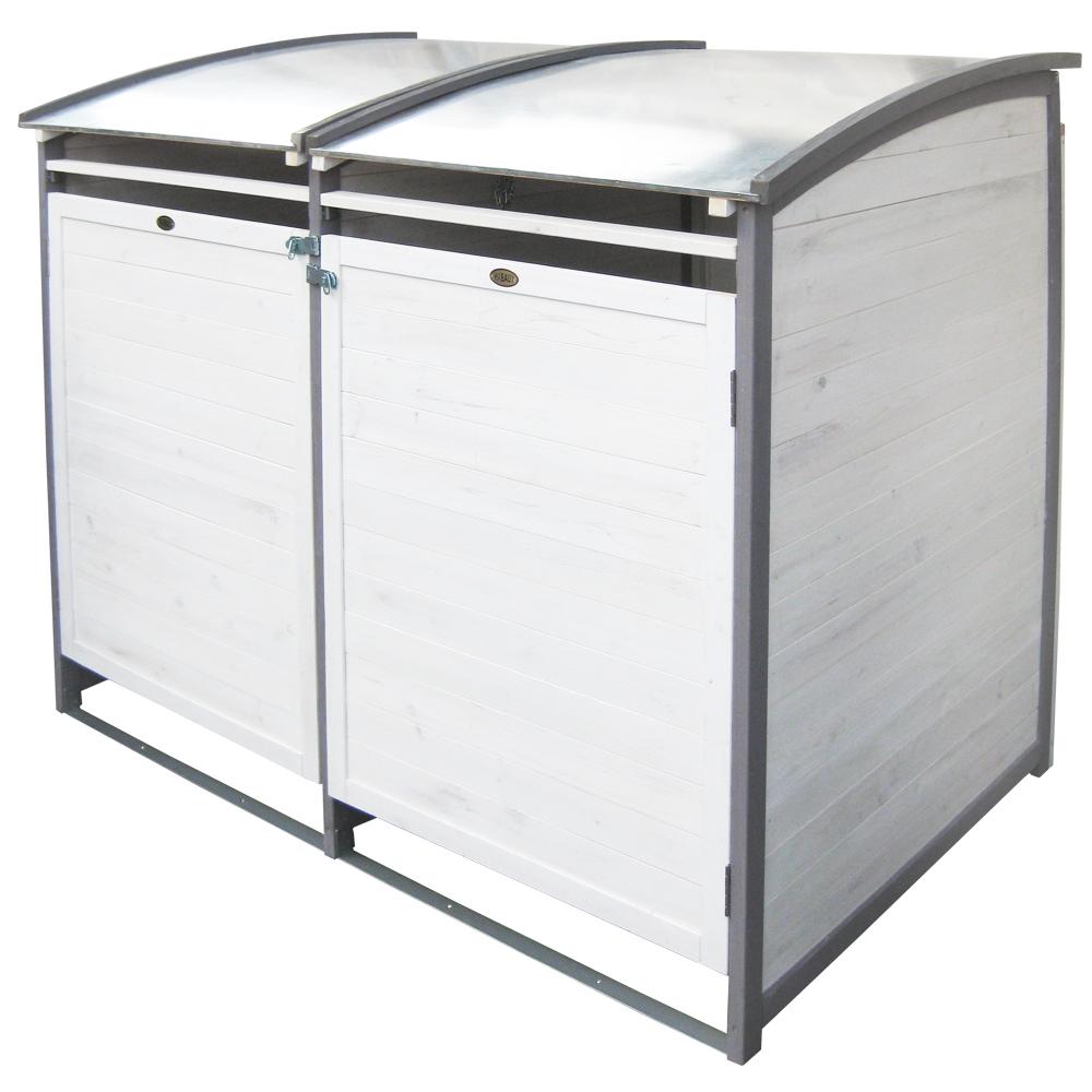 HABAU Mülltonnenbox 120 Liter Doppel, grau-weiß