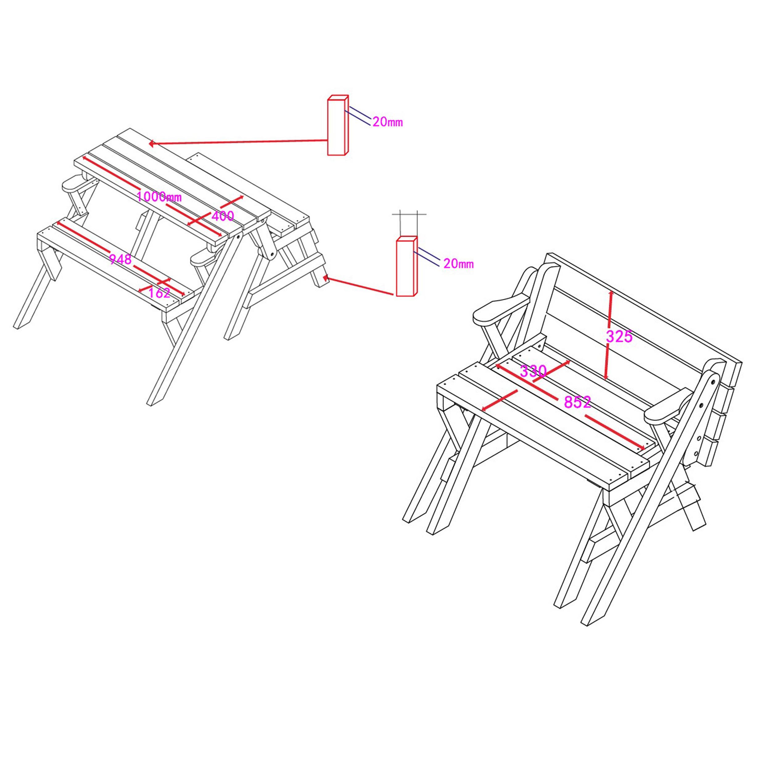 Kinderpicknickbank bunt - klappbar - Skizze mit Maßen