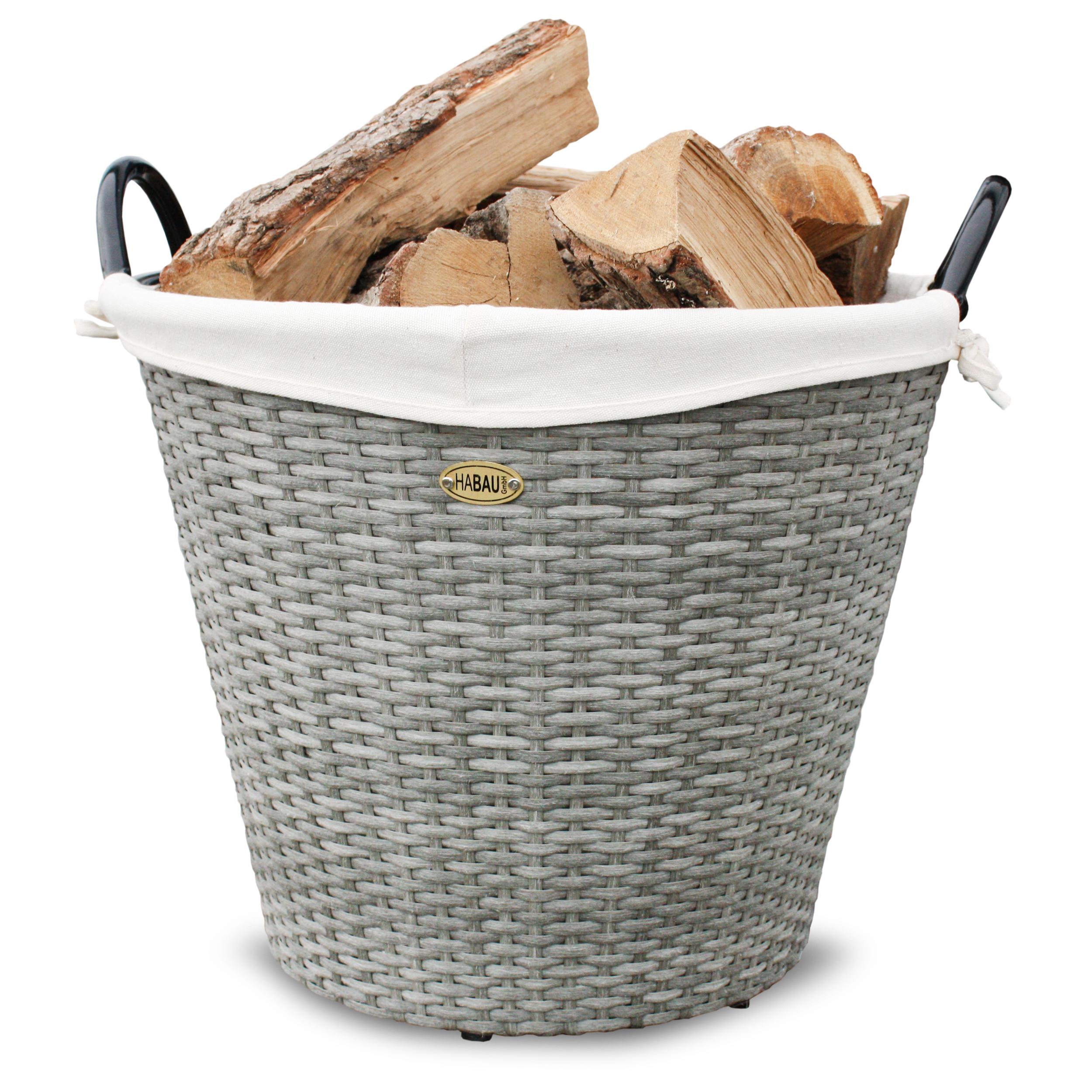 HABAU Feuerholzkorb aus Polyethylen, grau, 48 cm - 2725