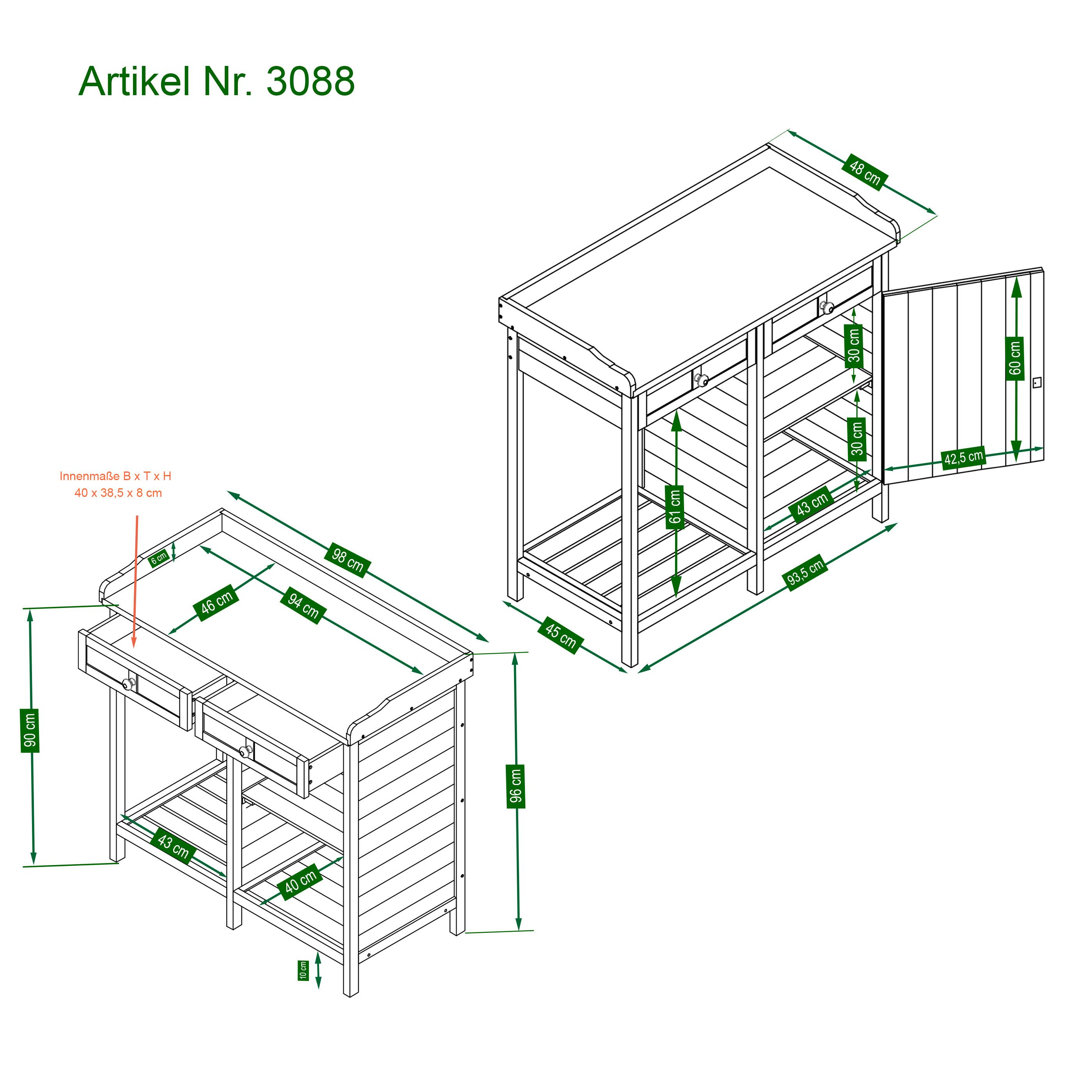 HABAU Pflanztisch mit Unterschrank - Skizze mit Maßen - 3088