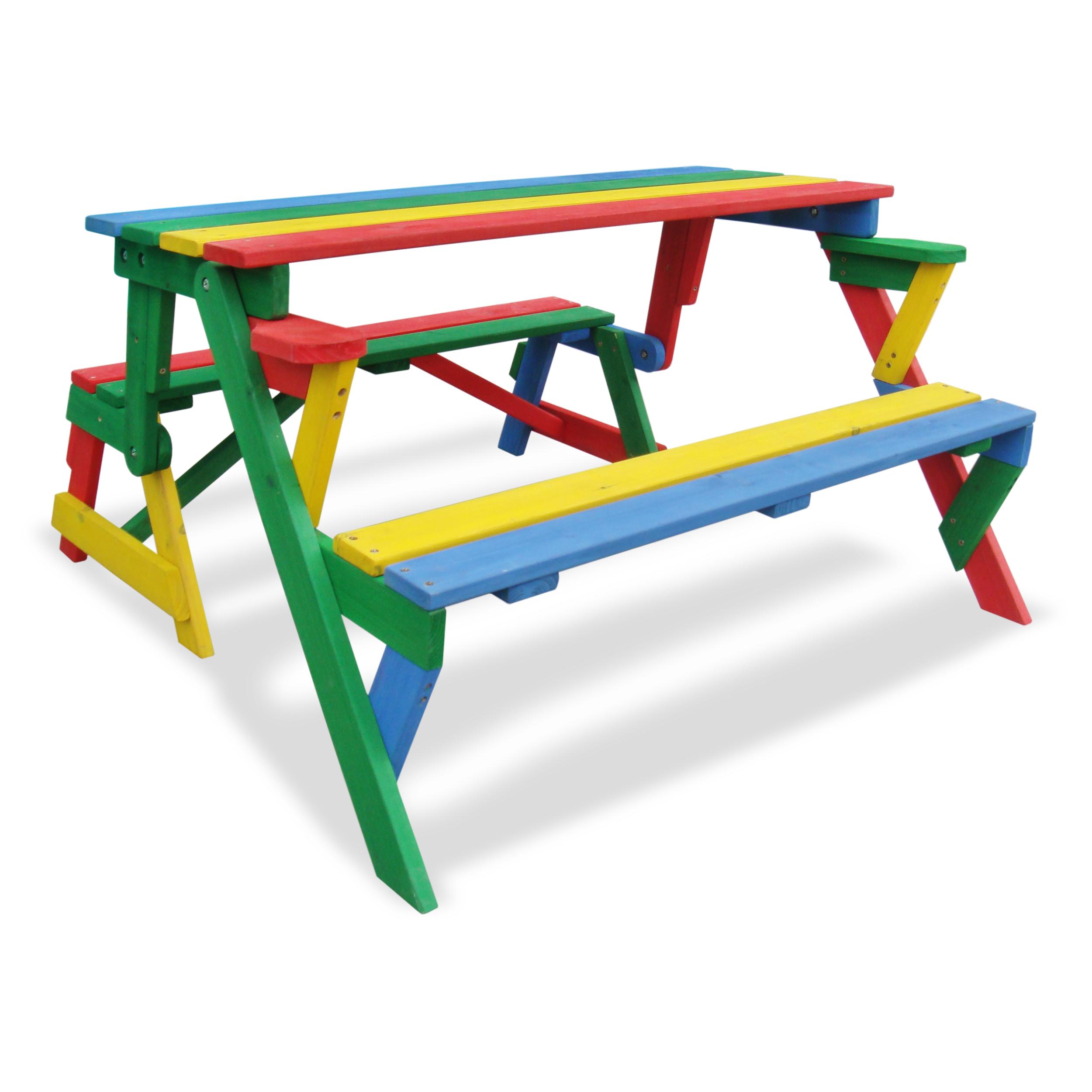 HABAU Kinderpicknickbank in rot, grün, gelb und blau, als Picknickbank